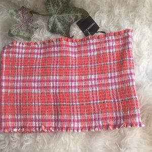 NWT Forever 21 Plaid Crop Tube Top. Size 2X